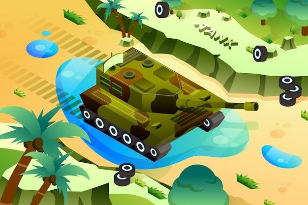군사 탱크-아이소메트릭 그림