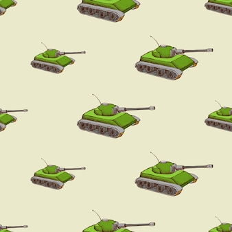 ミリタリータンクのシームレスパターン。軍の輸送の背景、