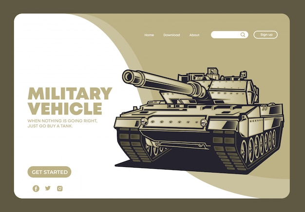 Military tank vehicle landing page