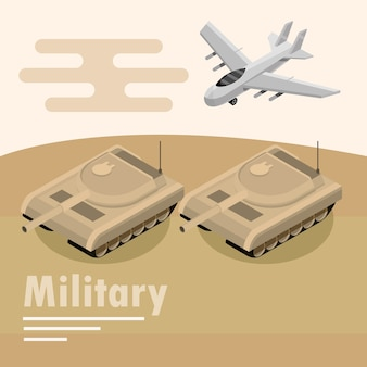 Military transport armored tank and airplane illustration