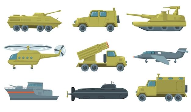 軍用輸送アイコンセット。空軍ジェット、潜水艦、ヘリコプター、トラック、装甲戦車が分離されました。軍用車両、武器、力の概念のベクトルイラスト