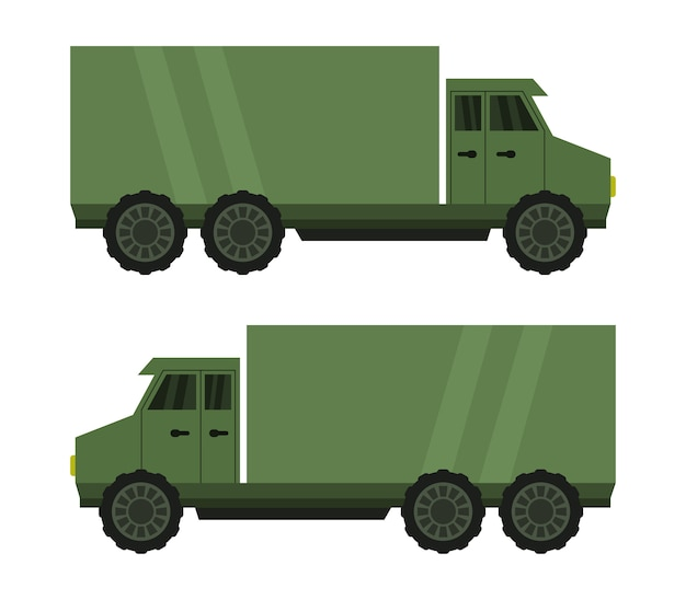Military truck on white