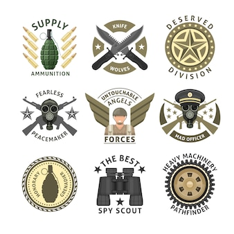 Military units emblems with crossed weapon ammunition respirator crawler wheel wings stars isolated vector illustration