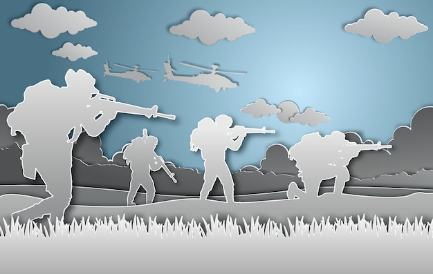Military vector illustration paper art style.