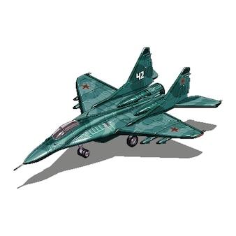 Military vehicle for war pixel art game asset illustration