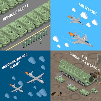 Military vehicles 2x2 design concept set of  vehicle fleet reconnaissance flight air strike doomsday weapon square icons isometric