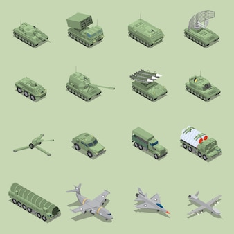 Military vehicles isometric set with tank cannon  rocket launcher jet fighter self propelled howitzer isolated icons