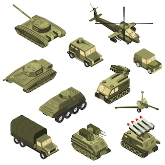 Military vehicles isometric set