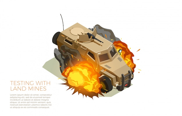 Military vehicles testing isometric composition