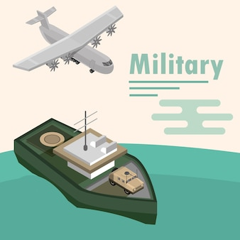 Military warship with vehicle and plane design illustration