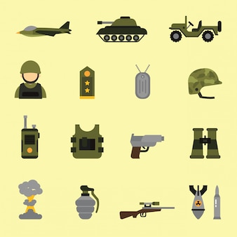 Military and weapon icons in flat color style