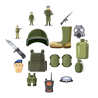 Military weapon icons set, cartoon style