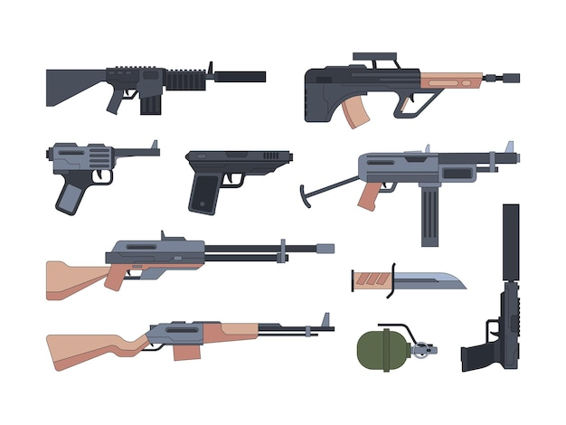 군사 무기와 군수품 플랫 세트. 침묵 산탄 총과 총의 수집. 돌격 소총, 폭탄, 칼. 육군 장비 팩.
