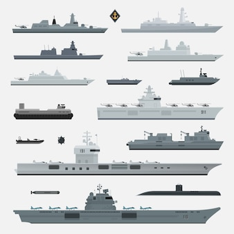 Military weapons of navy battleship. illustration.