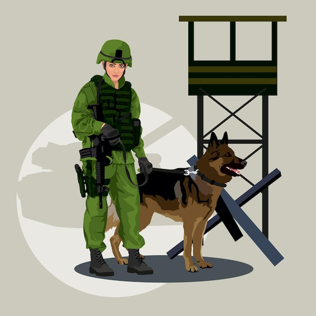 Military woman with a german shepherd