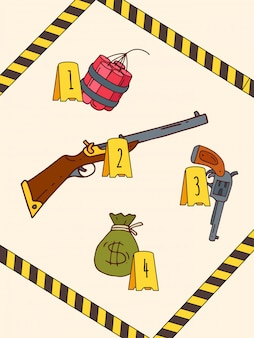 Militia surround crime scene, dangerous item weapon, explosives and money bag flat illustration. police force tape unhooked place offence.
