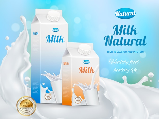 Milk advertising realistic poster