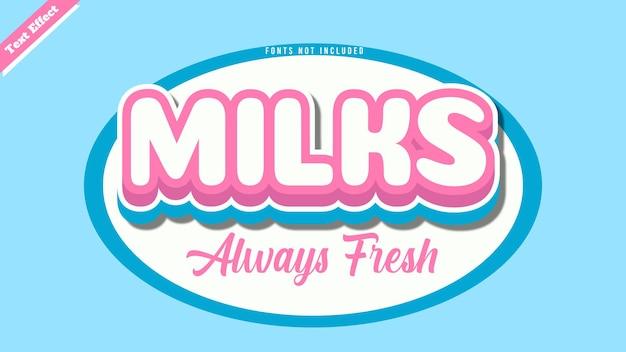 우유는 항상 신선한 텍스트 효과 디자인 벡터입니다. 편집 가능한 3d 텍스트