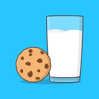 ミルクとチョコレートチップクッキーのイラスト。フラットスタイルのミルクのガラスとクッキー
