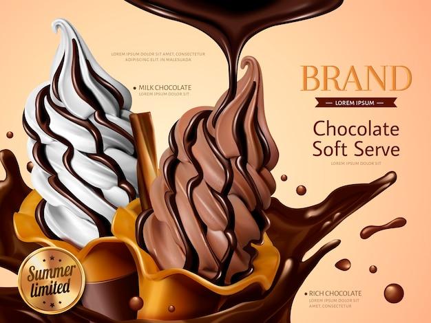 밀크 및 초콜릿 소프트 아이스크림 광고, 여름을위한 스플래시 프리미엄 초콜릿 액체가 들어간 사실적인 소프트 아이스크림