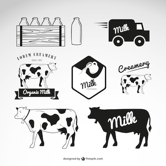 Молочные продукты логотипы вектор
