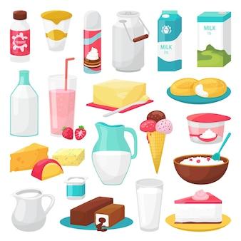 Пища молока и молочных продуктов на белом наборе иллюстраций. полезный сыр, молочные бутылки, мороженое, йогурт. молочный крем.