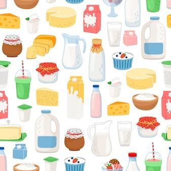 牛乳と日記の製品パターン Premiumベクター