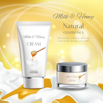 Иллюстрация натуральной косметики с молоком и медом