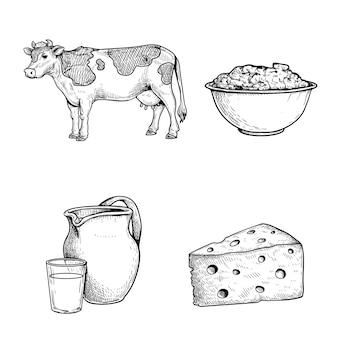 Эскизный набор молока и продуктов, корова, сметана, банка и стакан со свежим молоком и треугольный кусок сыра. рисованные молочные продукты