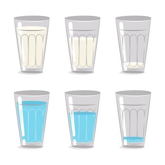 Молоко и вода в стеклянном стакане. мультфильм набор на белом фоне.
