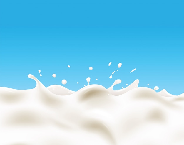 Milk background on blue background.
