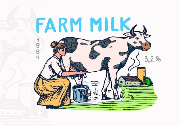 ミルクバッジ。牛と女性の農家、ミルクメイドショップのヴィンテージロゴとtシャツ。