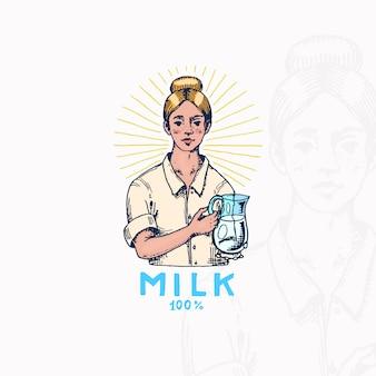 Значок молока. женщина-фермер или доярка.