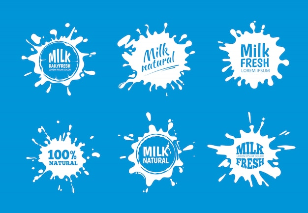 Milk badges vector set. white splash and blot design