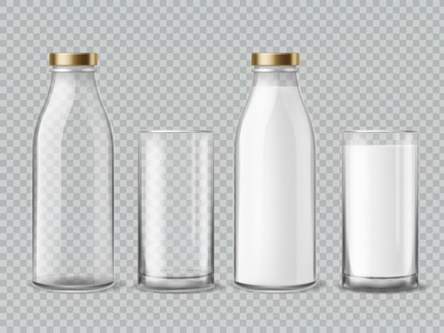 Бутылка молока и стакан.