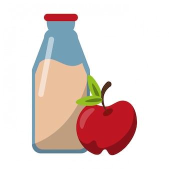 Milk bottle and apple fruit