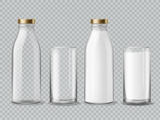 Milk bottle and glass.