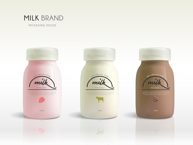 牛乳瓶のテンプレートデザイン