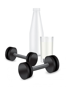 Milk bottle with glass. 3d realistic plastic shaker and dumbbell