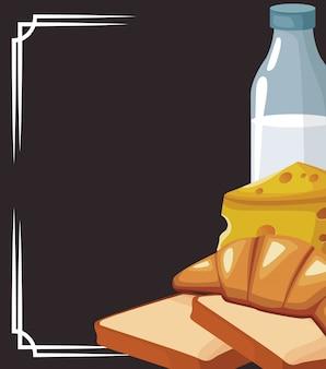 Бутылка молока с хлебом и куском сыра