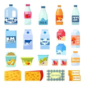 Бутылки молока и молочные продукты, изолированные на белом фоне
