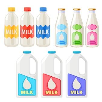 Набор иконок бутылки и кувшины для молока.