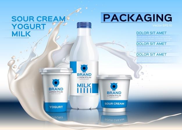 Milk bottles mock up realistic