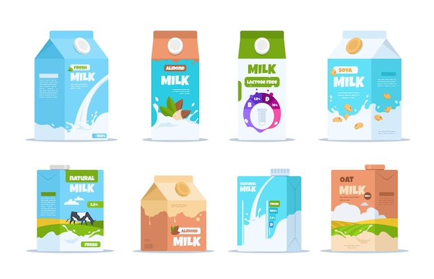 ミルクボックス。アーモンド有機大豆と乳糖を含まないミルクが入った漫画の食品容器 Premiumベクター