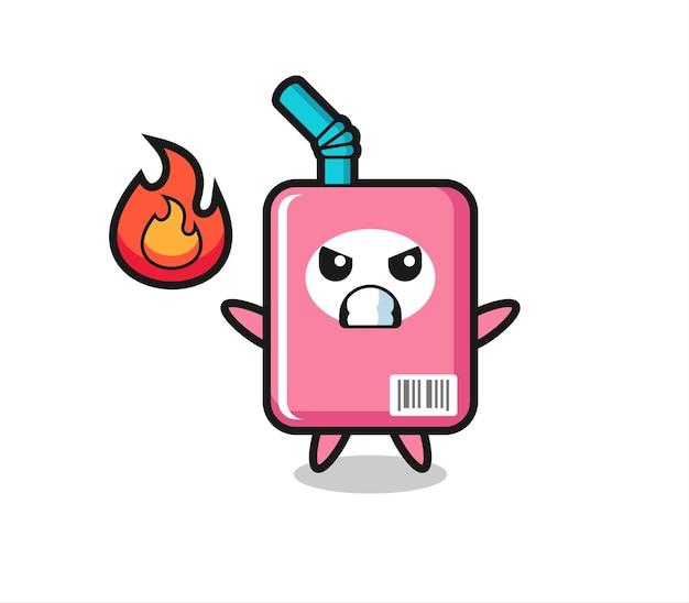 怒っているジェスチャー、tシャツ、ステッカー、ロゴ要素のかわいいスタイルのデザインとミルクボックスのキャラクター漫画