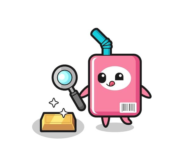 우유 상자 캐릭터가 금괴, 티셔츠, 스티커, 로고 요소를 위한 귀여운 스타일 디자인의 진위를 확인하고 있습니다