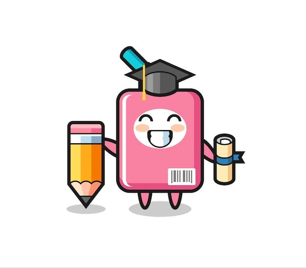 ミルクボックスのイラスト漫画は、巨大な鉛筆、tシャツ、ステッカー、ロゴ要素のかわいいスタイルのデザインで卒業です