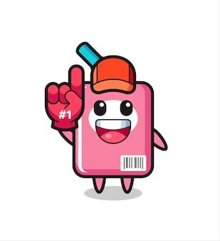 Milk box illustration cartoon with number 1 fans glove , cute style design for t shirt, sticker, logo element