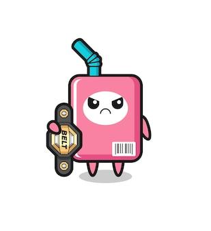 チャンピオンベルト、tシャツ、ステッカー、ロゴ要素のかわいいスタイルのデザインとmmaファイターとしてのミルクボックスのマスコットキャラクター