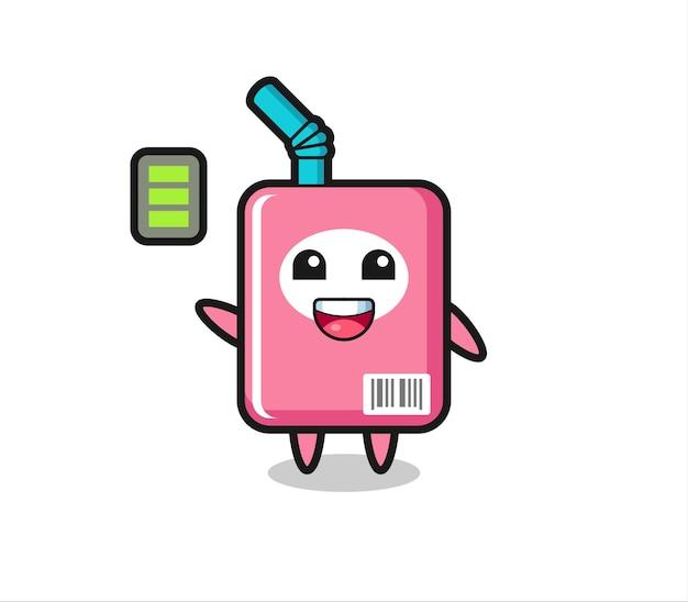 エネルギッシュなジェスチャーでミルクボックスのマスコットキャラクター、tシャツ、ステッカー、ロゴ要素のかわいいスタイルのデザイン